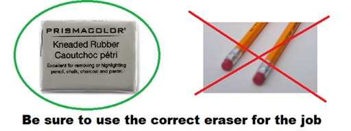 correct eraser for erasing colored pencils