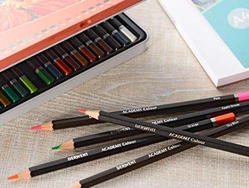 derwent academy colored pencils closeup